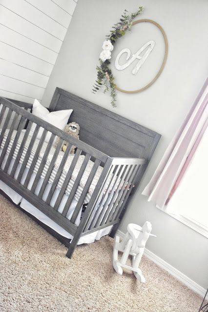 baby girl's farmhouse nursery with shiplap, white, gray and blush. handmade …