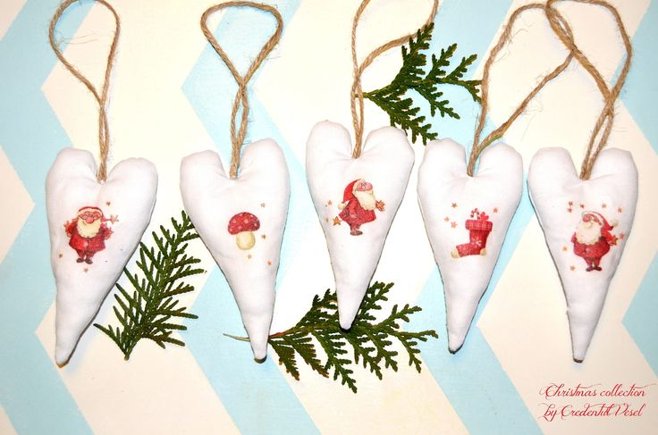 Christmas decorations; fabric hearts; handmade