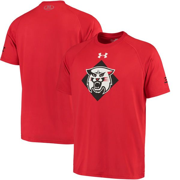 Stephen Curry Davidson Wildcats Under Armour Tech Performance T-Shirt - Red - $34.99