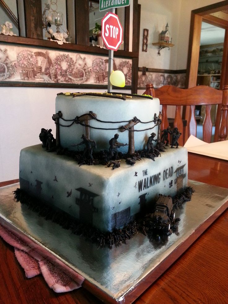 The Walking Dead cake.  We made this cake for my son's 9th birthday.  He is religiously addicted to The Walking Dead!