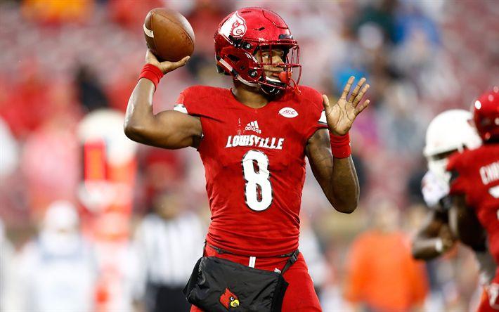 Download wallpapers Lamar Jackson, 4k, american football, quarterback, Louisville Cardinals, NFL