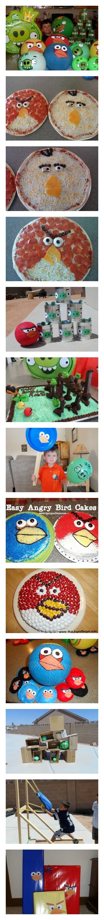 Everything you need to throw an amazing Angry Birds birthday party. Angry birds cakes, pizzas, party games, pinata and a giant Angry Birds game with life-size slingshot. Trust me, you'll be the coolest mom in town. www.thejoysofboys.com