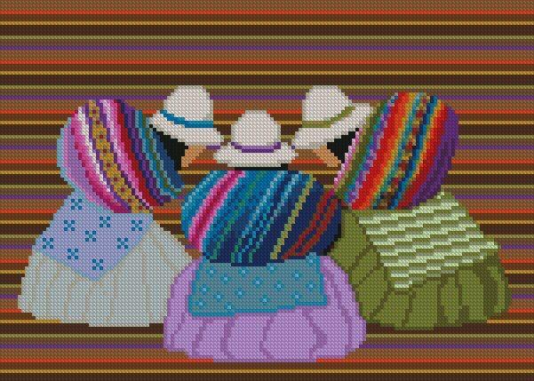 """PATRON PUNTO DE CRUZ  (Foto del Bordado Virtual)  """"Escena Boliviana III """"  Para bordar con Hilos DMC  150 Puntos de Ancho  112 Puntos de Alto http://puntocruzandino.weebly.com/"""