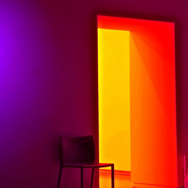 """yellow, orange, purple light. always thought about using lights to """"paint"""" my walls.... :D"""
