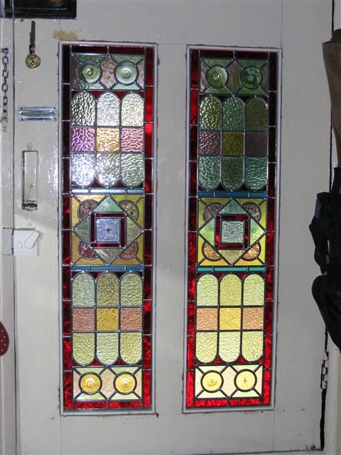 Victorian Style Stained Glass Door Panels With Fleur De Lys Transom