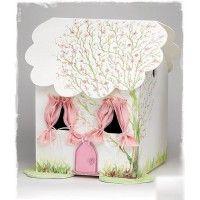 Ξύλινο κουτί βάπτισης σπιτάκι ζωγραφισμένο στο χέρι . Στη ζωγραφιά απεικονίζετε ένα ανθισμένο δέντρο.  #kouti_vaptisis #spitaki #kouti_vaptisis_spitaki