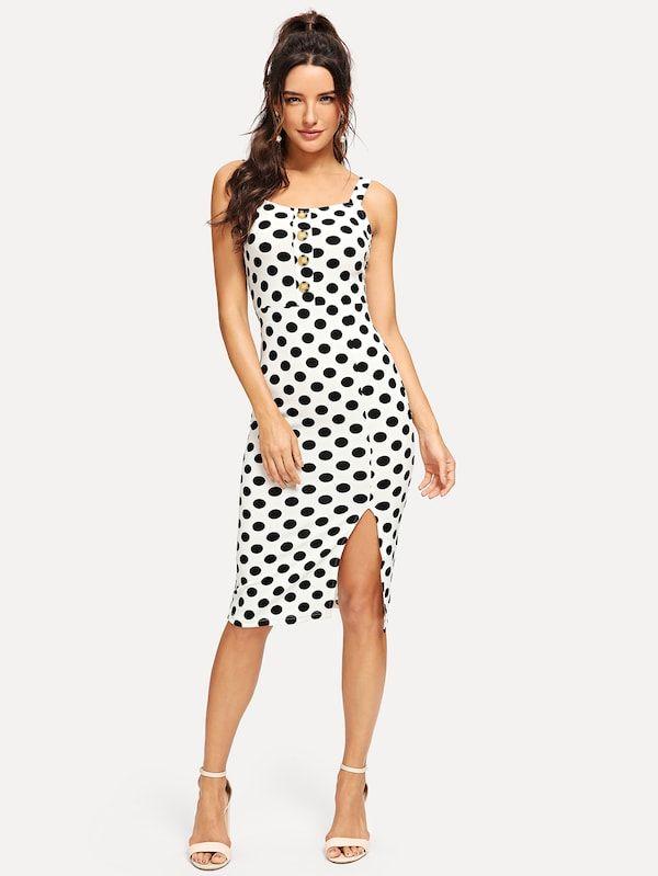 0fa8cfe138 Polka Dot Button Detail Split Dress -SheIn(Sheinside) | Closet ...