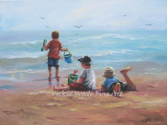 Three Beach Boys Art Print Beach Paintings Boys Beach Three