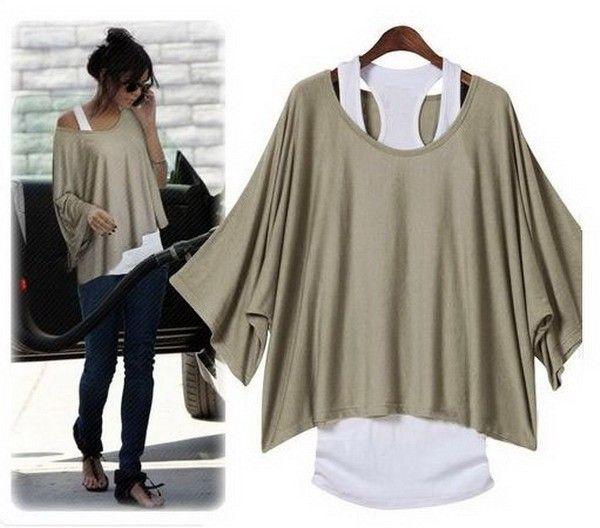 Kaki batwing blouse - 14 SD