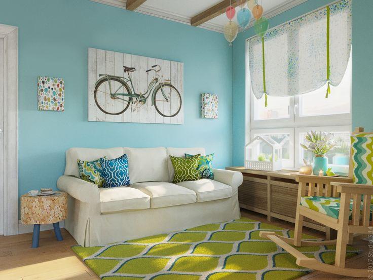 Яркая гостевая комната с раскладывающимся диваном и креслом-качалкой.