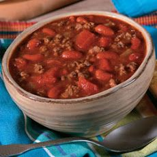 Campbell's® Slow Cooker Hearty Beef and Bean Chili-I use a can of tomato sauce instead of the campbells soup, but to each their own