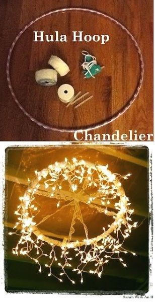 DIY Christmas lighting idea using hula hoop and string lights