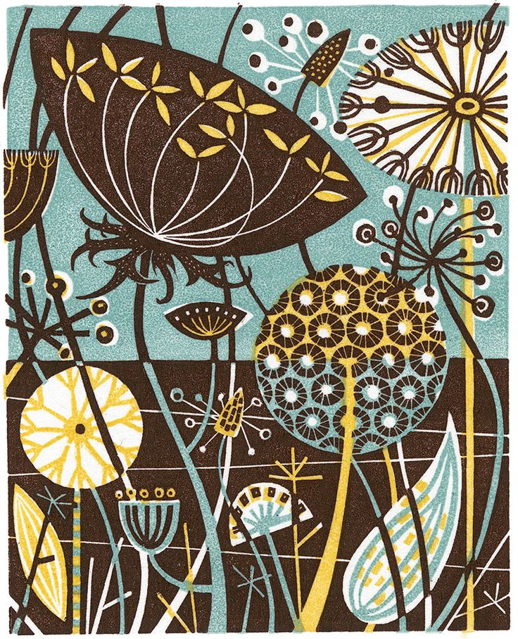 Angie Lewin 'Cifftop IV' wood engraving http://www.angielewin.co.uk