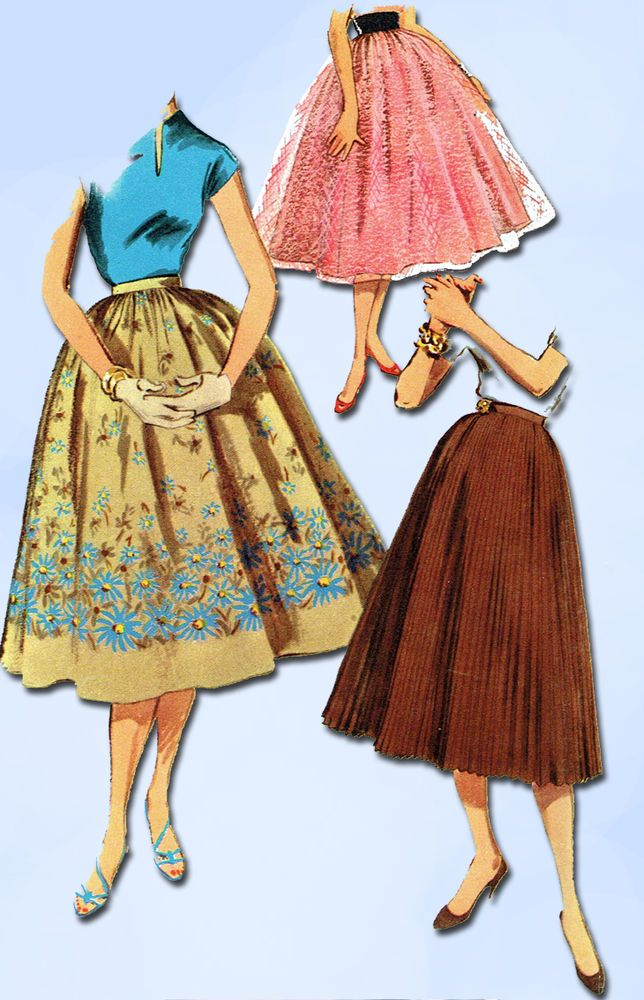 1950s Vintage Simplicity Sewing Pattern 1033 FF Easy Misses Skirt Set Size 26 W #Simplicity #SkirtPattern