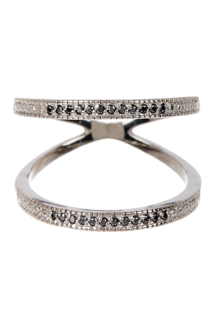 Pave Black Spinel Double Band Ring by Savvy Cie on @HauteLook