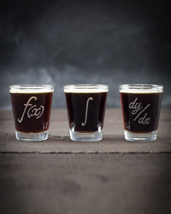 Calculus Functions Shot Glass Set  by CognitiveSurplus on Etsy
