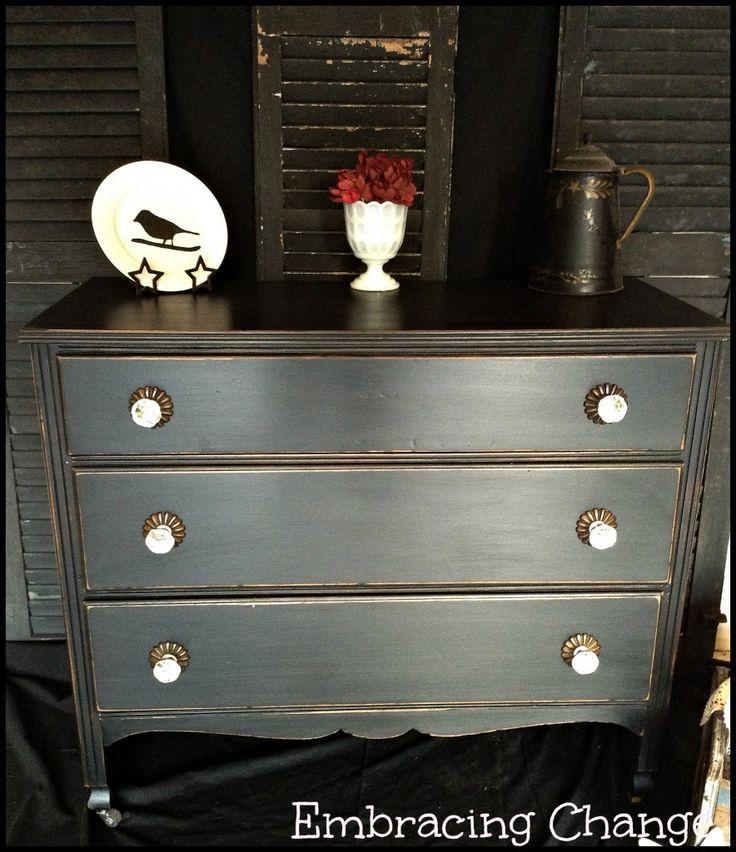Back In Black: It's Time - Black Antique Dresser Makeover - Sophisticated Sabrina