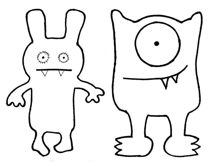 Ugly doll skabelon - se om du kan tegne efter den på et stort stykke karton