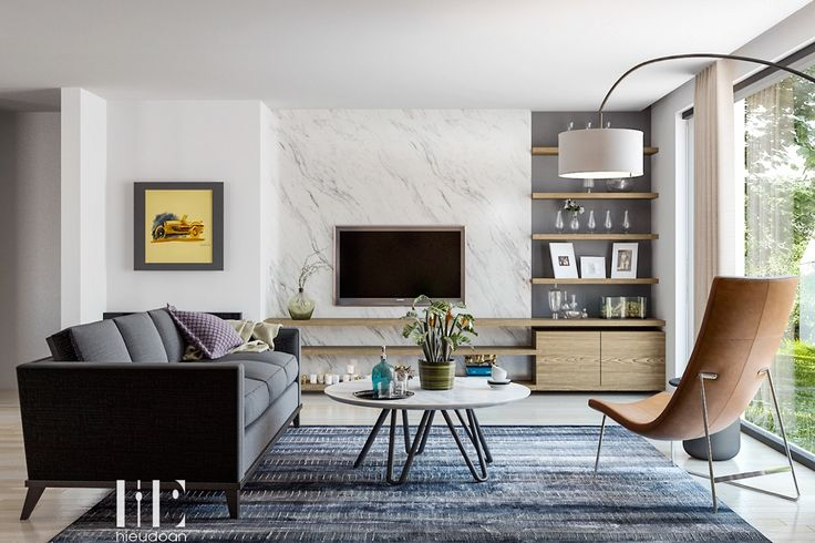 An awesome sling chair and marbled wall treatment give something special to this mid-century inspired living room.