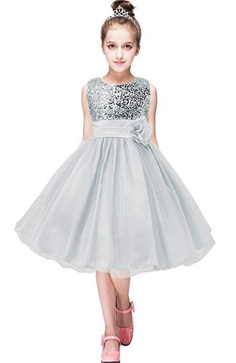 ddb4f3aca122 BOFETA Girls  Sequin Dress Sleeveless Mesh Party Tulle Wedding ...