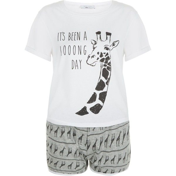 New Look Teens Grey Giraffe Print Pyjama Set (20 AUD) ❤ liked on Polyvore featuring intimates, sleepwear, pajamas, grey, giraffe print pajamas, giraffe pajamas, giraffe pjs, short sleeve pajama set and short sleeve pajamas