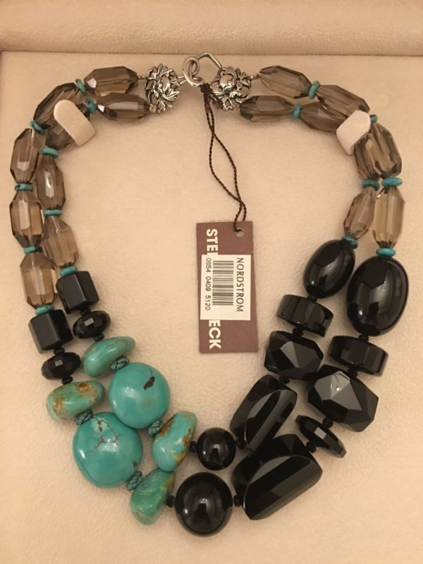 Stephen Dweck Smoky Quartz Turquoise Black Agate Sterling Silver Necklace NWT