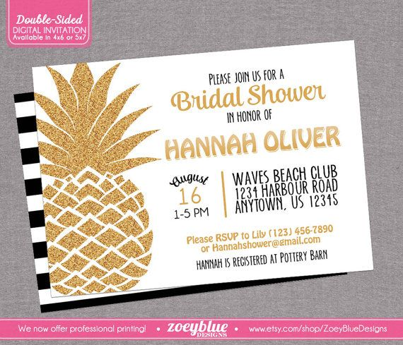 Pineapple Bridal Shower Invitation Hawaiian by ZoeyBlueDesigns