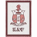 "For a gift that the special Kappa in your life won't soon forget, get him one of these finely woven Kappa Alpha Psi Greek Crest Afghans. It's a crimson and cream masterpiece with the Kappa fraternity crest at the middle and letters at the bottom. There's a red border framing the afghan, finished off with a soft fringe around the edge.This KAPsi afghan measures 48"" x 68"" and can be used as a decorative piece to spruce up a room or to place."