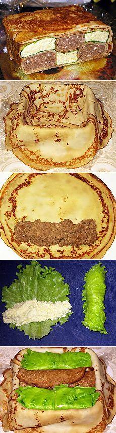 "Закусочный блинный пирог ""Шахматы"""