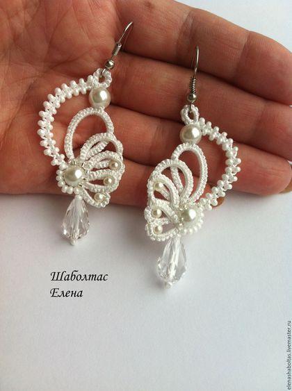 "Earrings handmade.  Order Earrings ""Wings"".  Elena Shaboltas.  Arts and crafts fair.  Angel Wings, Czech beads preciosa"