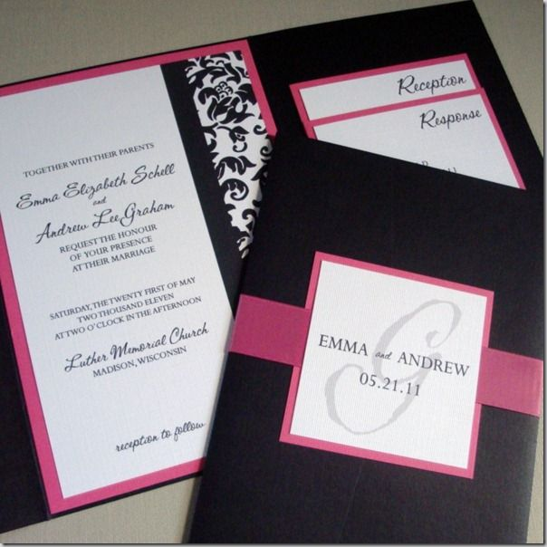 Pocketfold wedding invitation sample package in dark pink and black damask from Invites by Jen ...