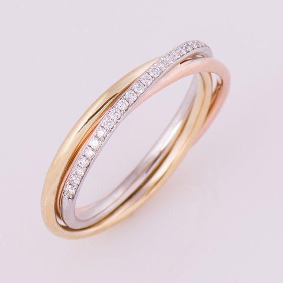 Tres tono anillo oro de 14K y la banda de diamantes por NirOliva