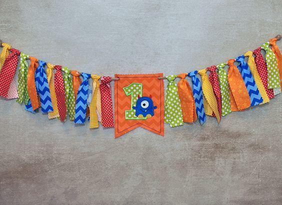 Shabby Rag Flag Fabric High Chair Banner - Little Monster - Orange, Lime Green, Blue Birthday Party Cake Smash Decor Highchair - First Birthday Monster Photo Prop