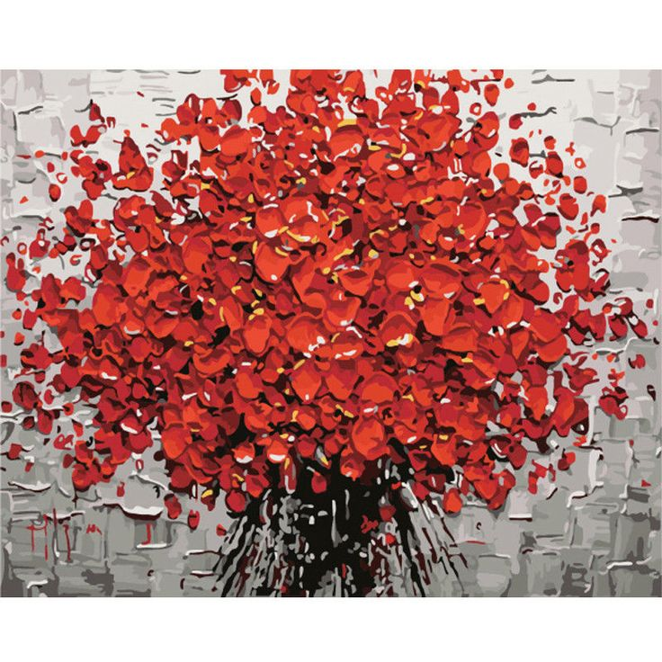 Self-Paint Oil Painting By Numbers Kit Red Bouquet Flower Art 40CMx50CM Canvas | eBay