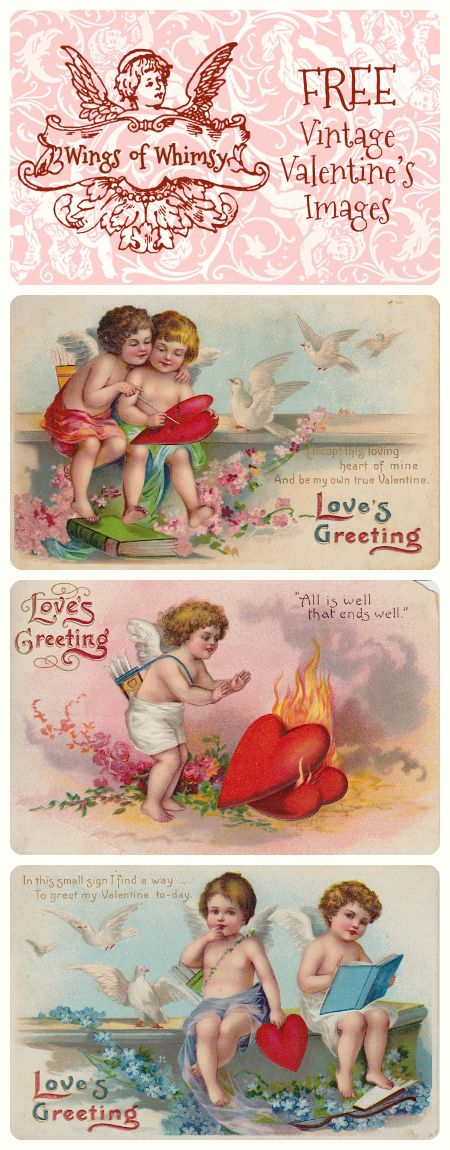 Wings of Whimsy: Vintage Valentine's Images - free for personal use.