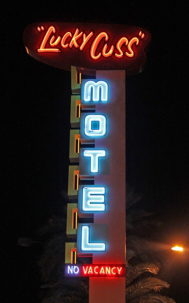 """Lucky Cuss Neon Sign   Once was the """"Panorama Motel"""" in the 1950s   The restored neon sign now is on Las Vegas Blvd. &  the U.S 95 Freeway"""