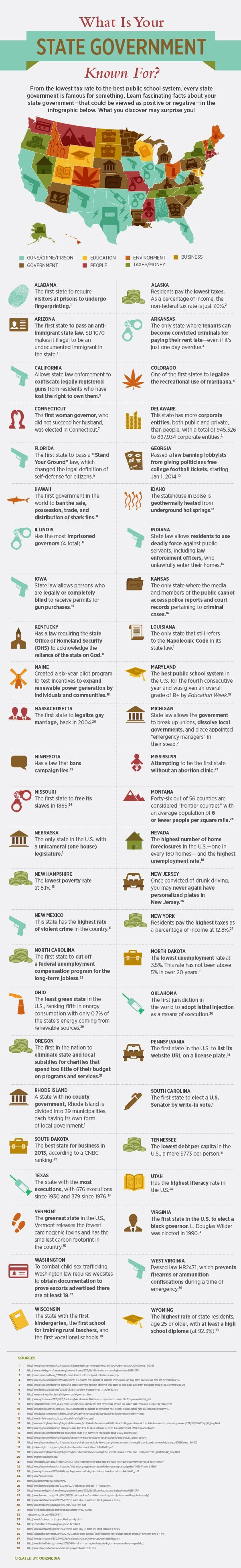 What Is Your State Government Known For   #Infographic #StateGovernment. Interesting but would be better with consistency of icons