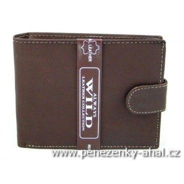 Kožená peněženka pánská hnědá značky Always Wild.