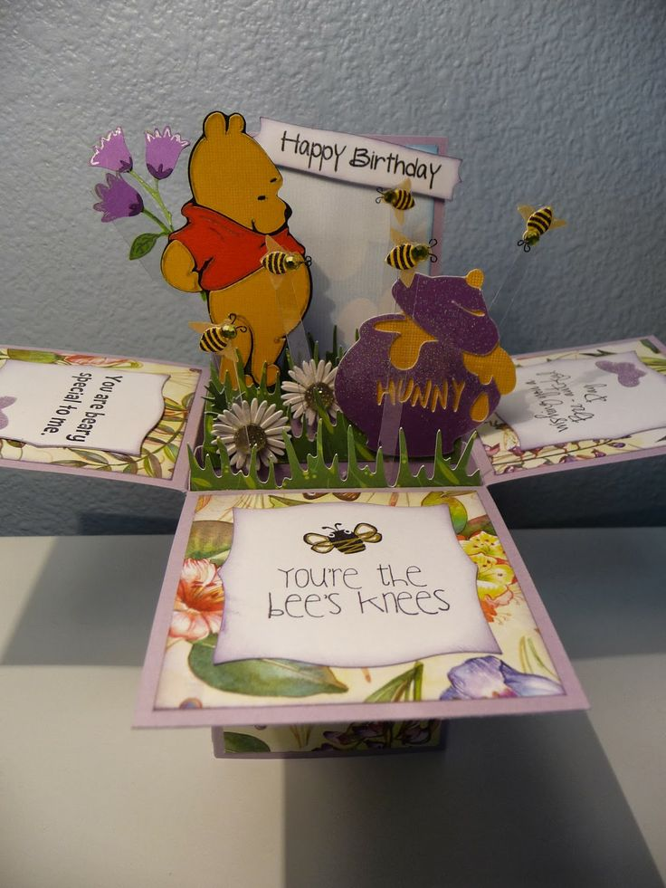 Winnie the Pooh Card in a box- The Scrappin Rabbit