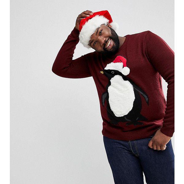 Threadbare PLUS Furry Penguin Christmas Jumper (516.375 IDR) ❤ liked on Polyvore featuring men's fashion, men's clothing, men's sweaters, red, mens red sweater, mens christmas sweaters, mens crewneck sweaters and mens crew neck sweaters