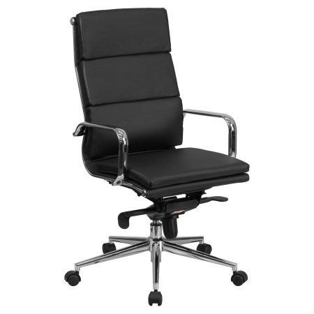 Flash Furniture High Back Leather Executive Swivel Office Chair with Synchro-Tilt Mechanism, Multiple Colors, Black