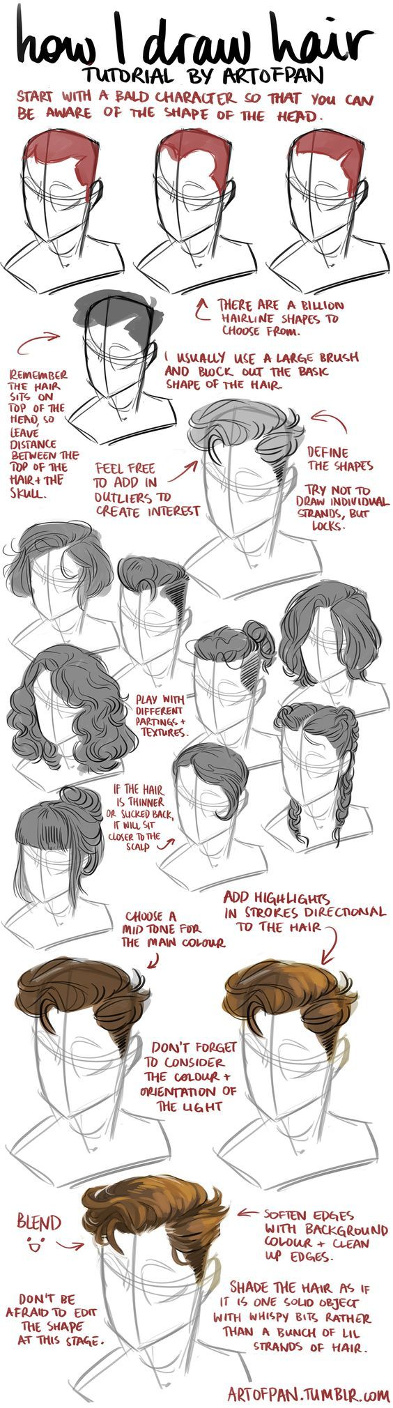 How to draw/sketch human hair on the human head with realistic proportions and positioning.