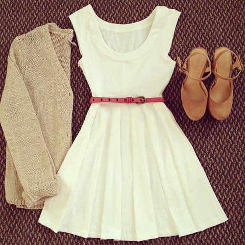 Fit and flare dress with thin cardigan. Soft neutral colors.