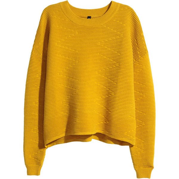 H&M Short jumper ($30) ❤ liked on Polyvore featuring tops, sweaters, shirts, jumpers, mustard yellow, ribbed shirt, h&m shirts, mustard yellow sweater, long sleeve sweaters and short sweater