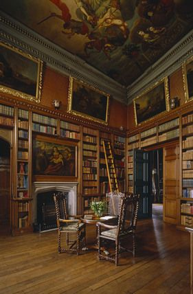 View of the Library at Powis Castle including the fireplace, part of ceiling painting by Gerard Lanscroon