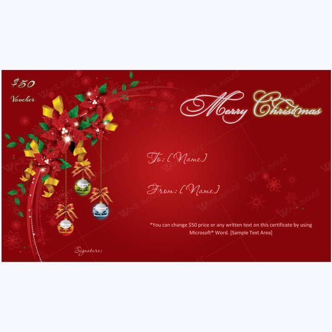 Swirls Flower Christmas Gift Certificate Template #christmas #christmascard #merrychristmas #christmasgiftcertificate