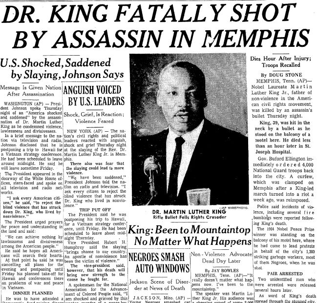"A newspaper article about the assassination of Dr. Martin Luther King Jr., published in the Times-Picayune (New Orleans, Louisiana), 5 April 1968. Read more on the GenealogyBank blog: ""Dr. Martin Luther King Jr.: Brief Genealogy & Family Tree Download."""