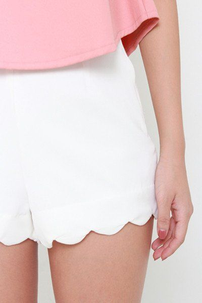All Day Scallop Shorts - White - ShopLuckyDuck  - 1