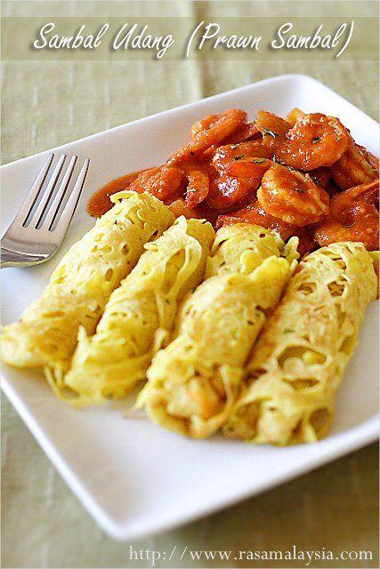 Sambal Udang (Prawn Sambal) with Roti Jala recipe -