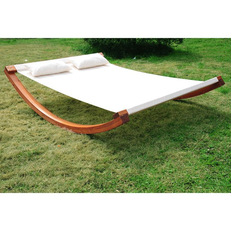 Outsunny Rocking Double Sun Lounger Hammock with Curved Wood Stand Outdoor White | eBay